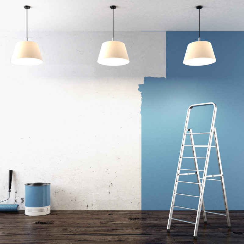 Painting on wall 3d render